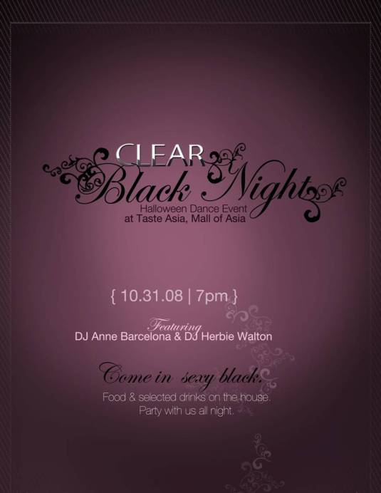 Invite to the Clear Black Night Party