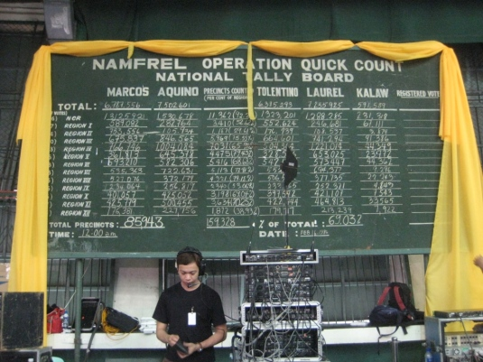 NAMFREL's 1986 tally board (lovingly preserved by the La Salle brothers) is displayed as one final tribute
